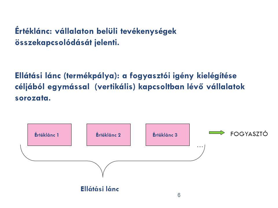 Értéklánc: vállalaton belüli tevékenységek összekapcsolódását jelenti.
