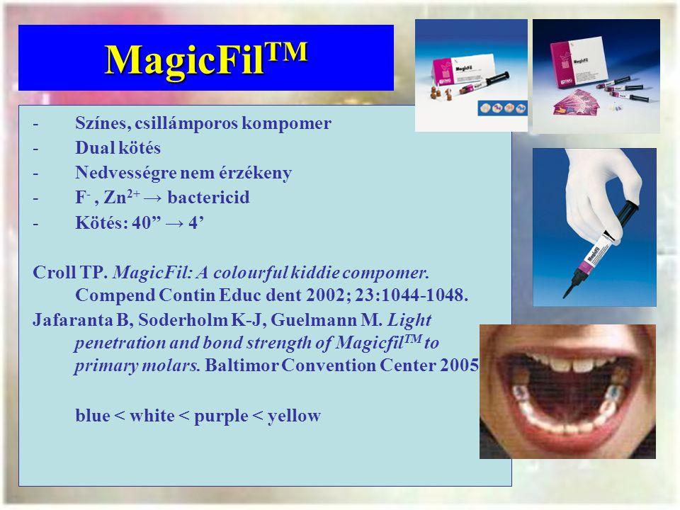MagicFilTM Színes, csillámporos kompomer Dual kötés