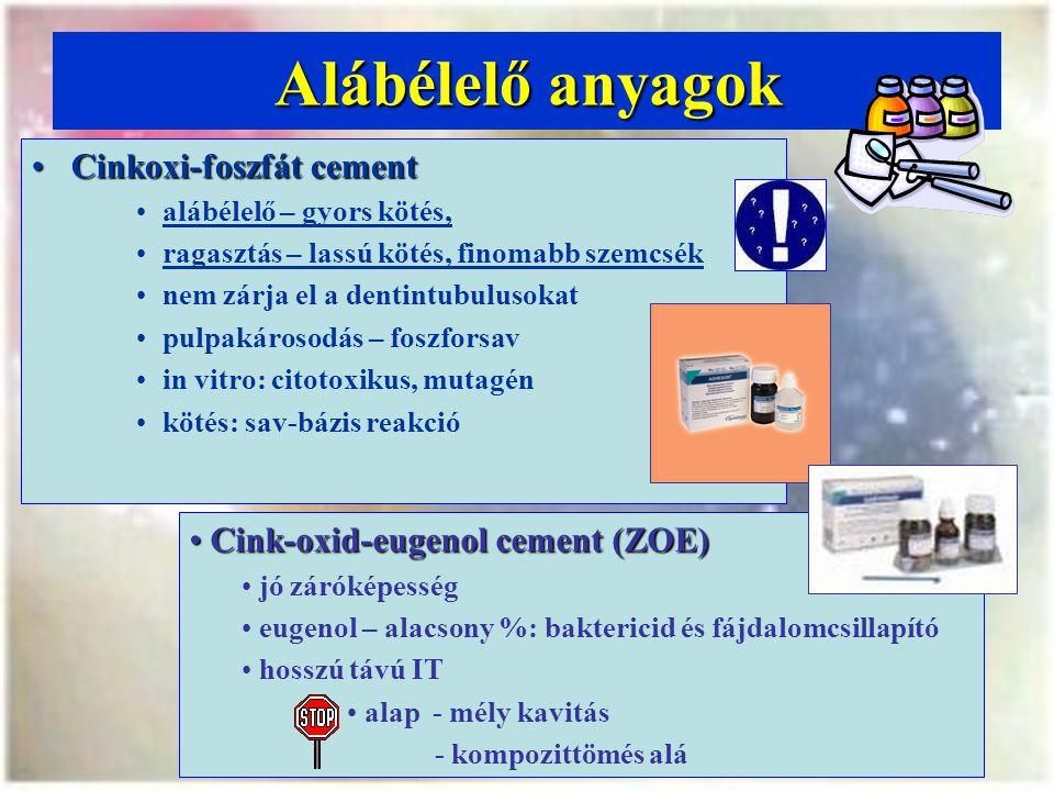 Alábélelő anyagok Cinkoxi-foszfát cement
