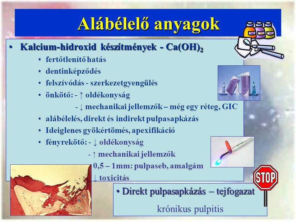 Alábélelő anyagok Kalcium-hidroxid készítmények - Ca(OH)2