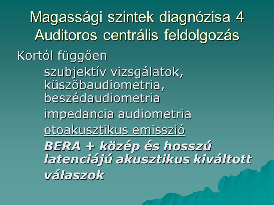 Magassági szintek diagnózisa 4 Auditoros centrális feldolgozás