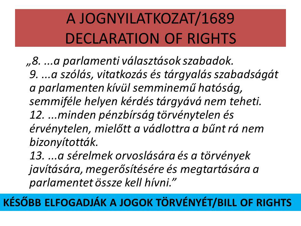A JOGNYILATKOZAT/1689 DECLARATION OF RIGHTS