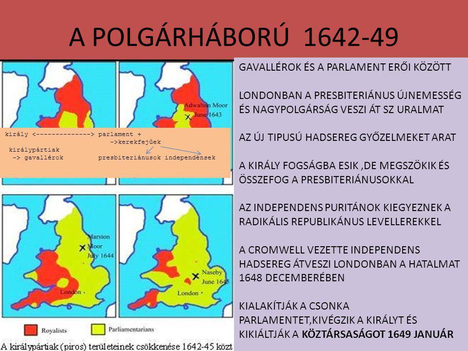 A POLGÁRHÁBORÚ 1642-49 GAVALLÉROK ÉS A PARLAMENT ERŐI KÖZÖTT