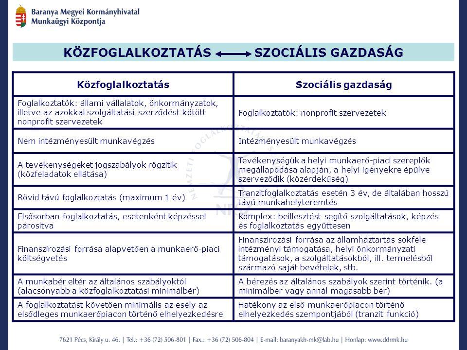 KÖZFOGLALKOZTATÁS SZOCIÁLIS GAZDASÁG