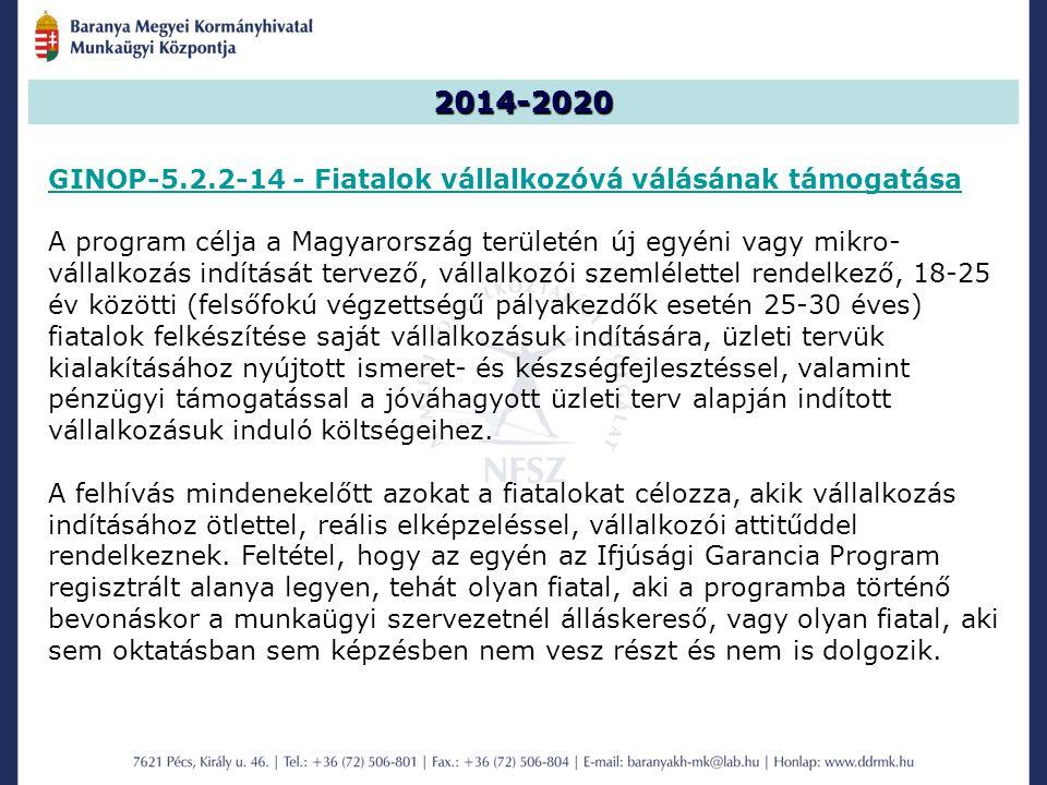 2014-2020 GINOP-5.2.2-14 - Fiatalok vállalkozóvá válásának támogatása