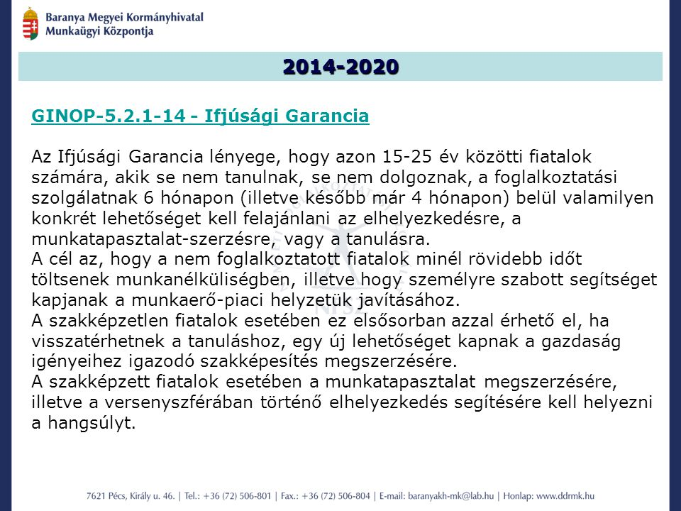 2014-2020 GINOP-5.2.1-14 - Ifjúsági Garancia