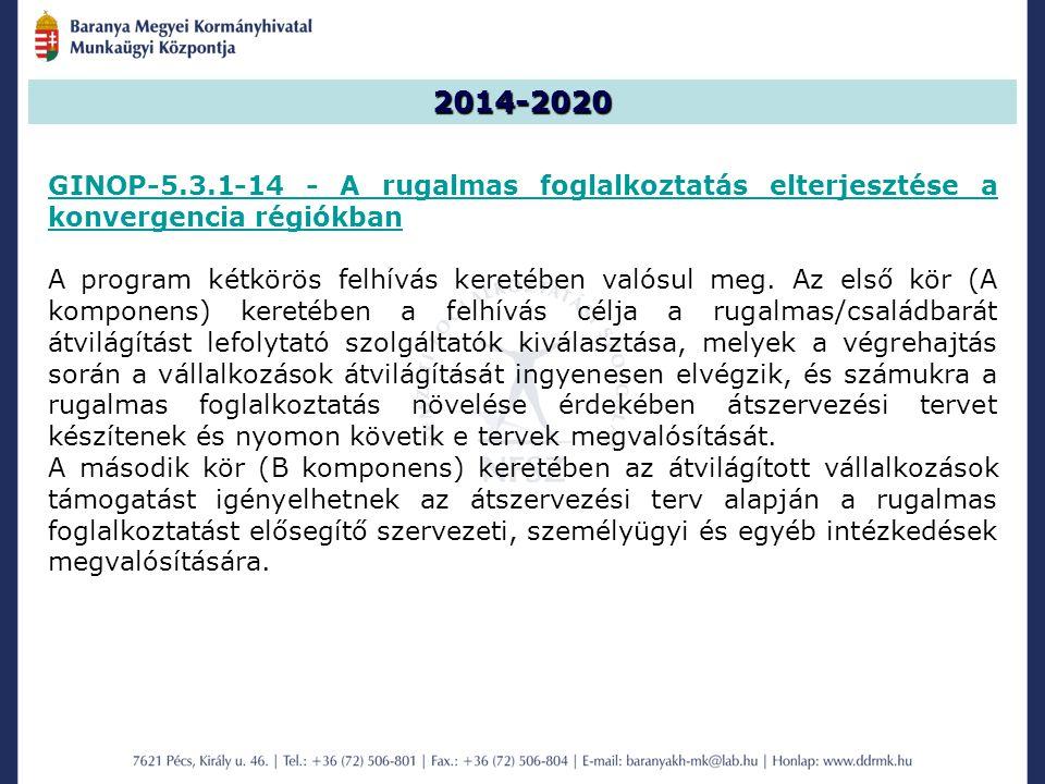 2014-2020 GINOP-5.3.1-14 - A rugalmas foglalkoztatás elterjesztése a konvergencia régiókban.