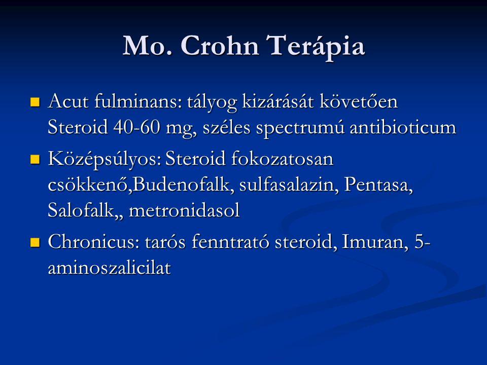 Mo. Crohn Terápia Acut fulminans: tályog kizárását követően Steroid 40-60 mg, széles spectrumú antibioticum.