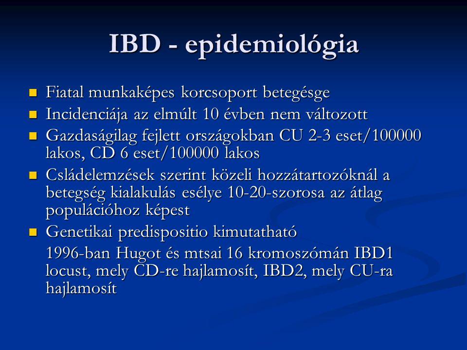 IBD - epidemiológia Fiatal munkaképes korcsoport betegésge