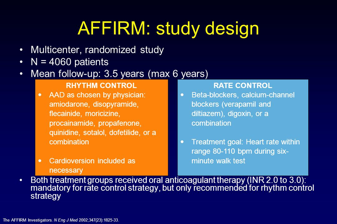AFFIRM: study design Multicenter, randomized study N = 4060 patients
