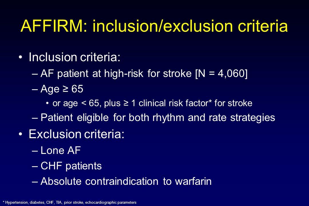 AFFIRM: inclusion/exclusion criteria