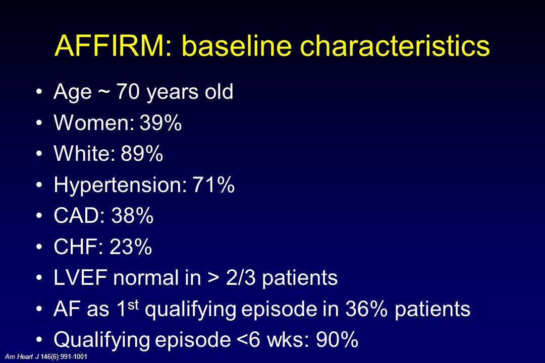 AFFIRM: baseline characteristics