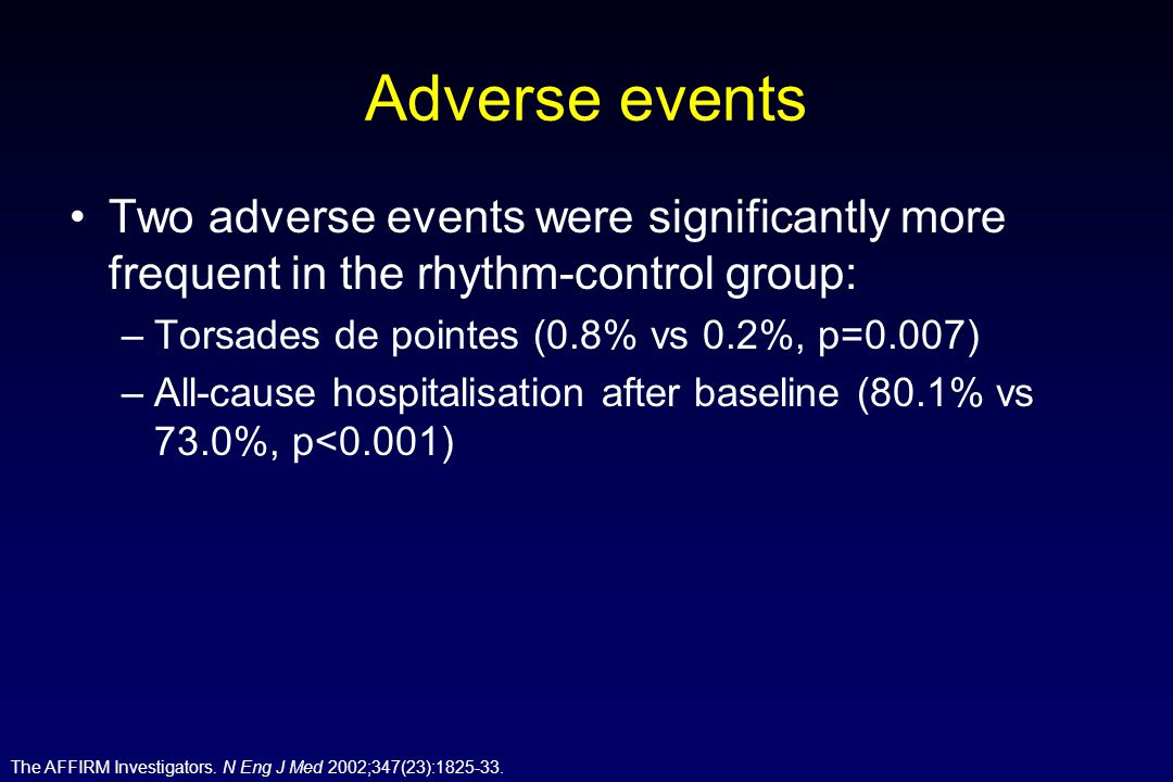 Adverse events Two adverse events were significantly more frequent in the rhythm-control group: Torsades de pointes (0.8% vs 0.2%, p=0.007)