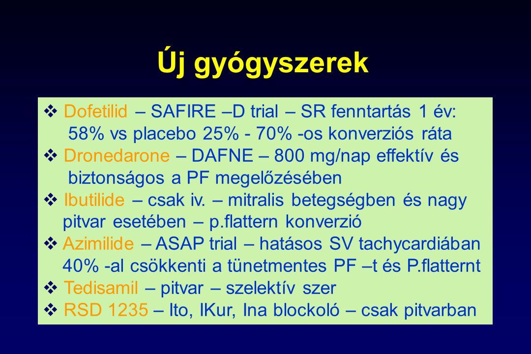 Új gyógyszerek Dofetilid – SAFIRE –D trial – SR fenntartás 1 év: