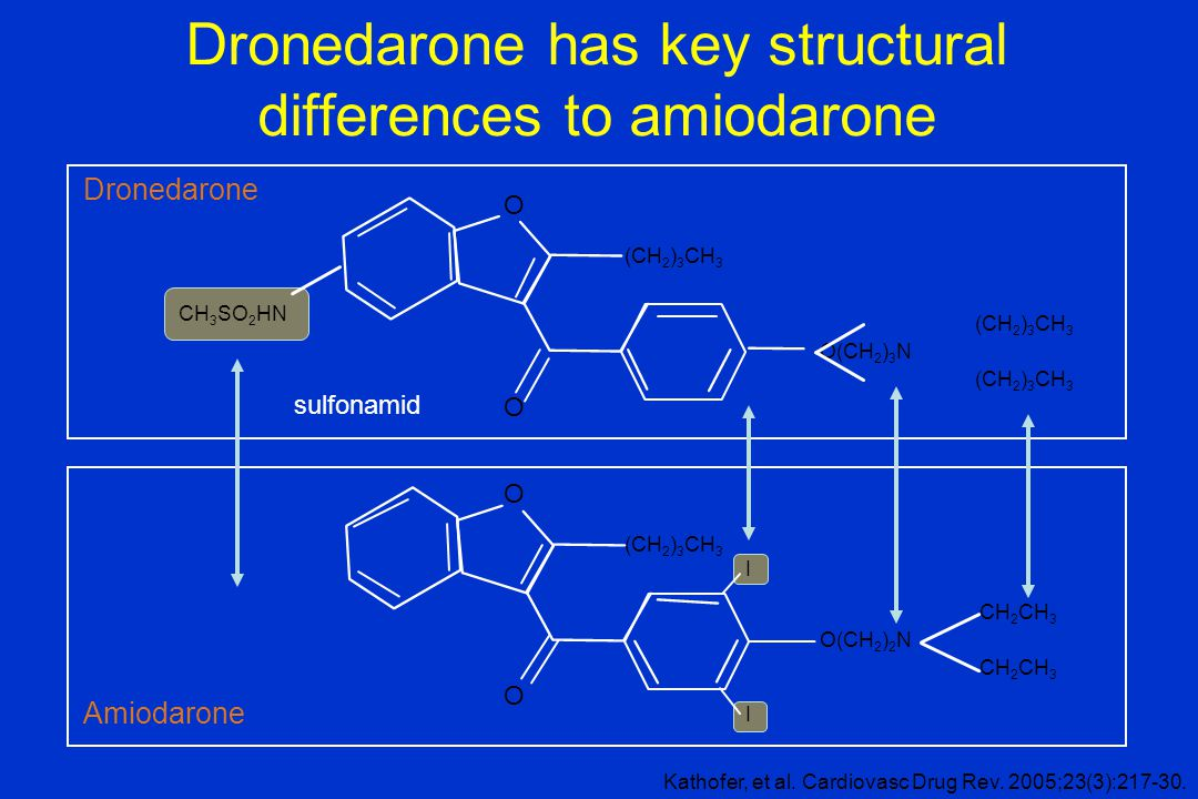 Dronedarone has key structural differences to amiodarone