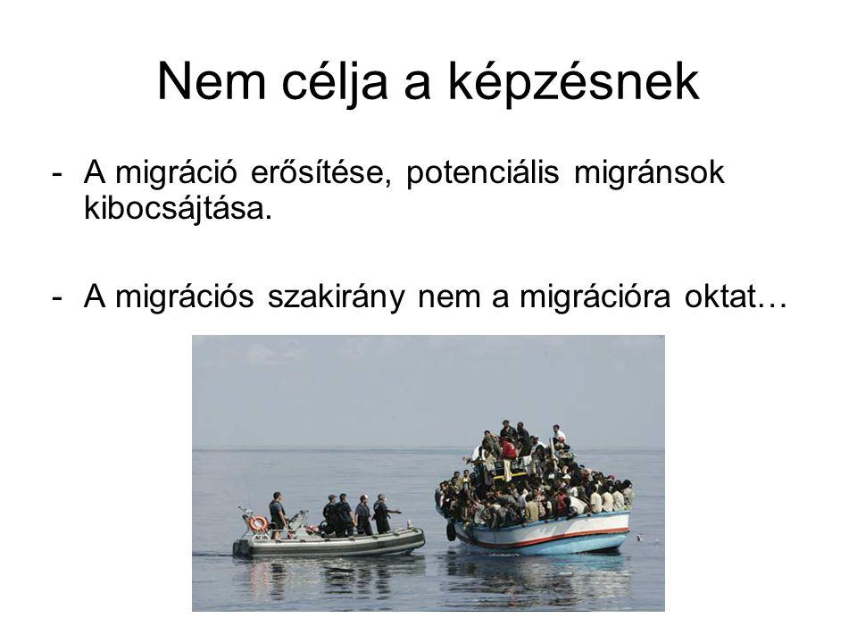 Nem célja a képzésnek A migráció erősítése, potenciális migránsok kibocsájtása.