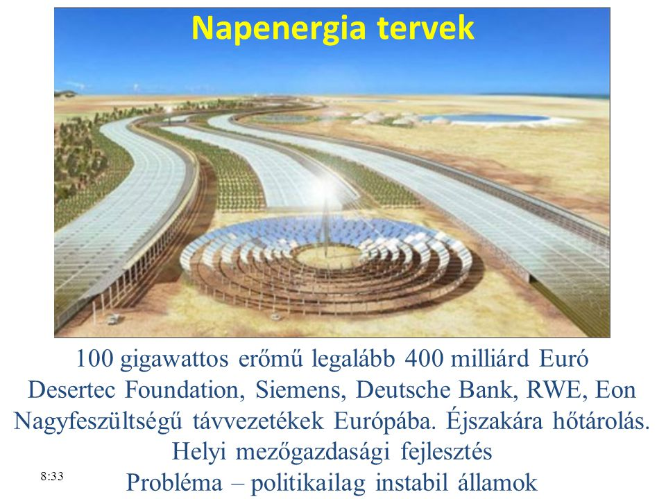 Napenergia tervek 100 gigawattos erőmű legalább 400 milliárd Euró