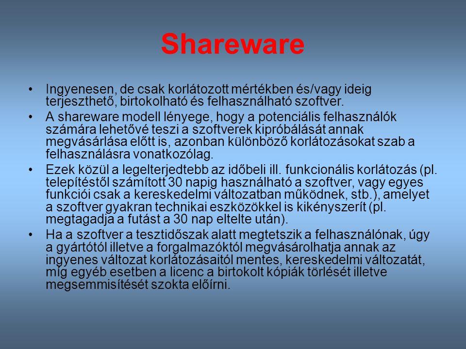 Shareware Ingyenesen, de csak korlátozott mértékben és/vagy ideig terjeszthető, birtokolható és felhasználható szoftver.