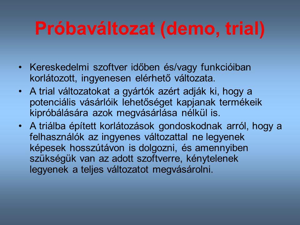 Próbaváltozat (demo, trial)