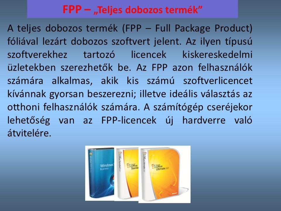 """FPP – """"Teljes dobozos termék"""
