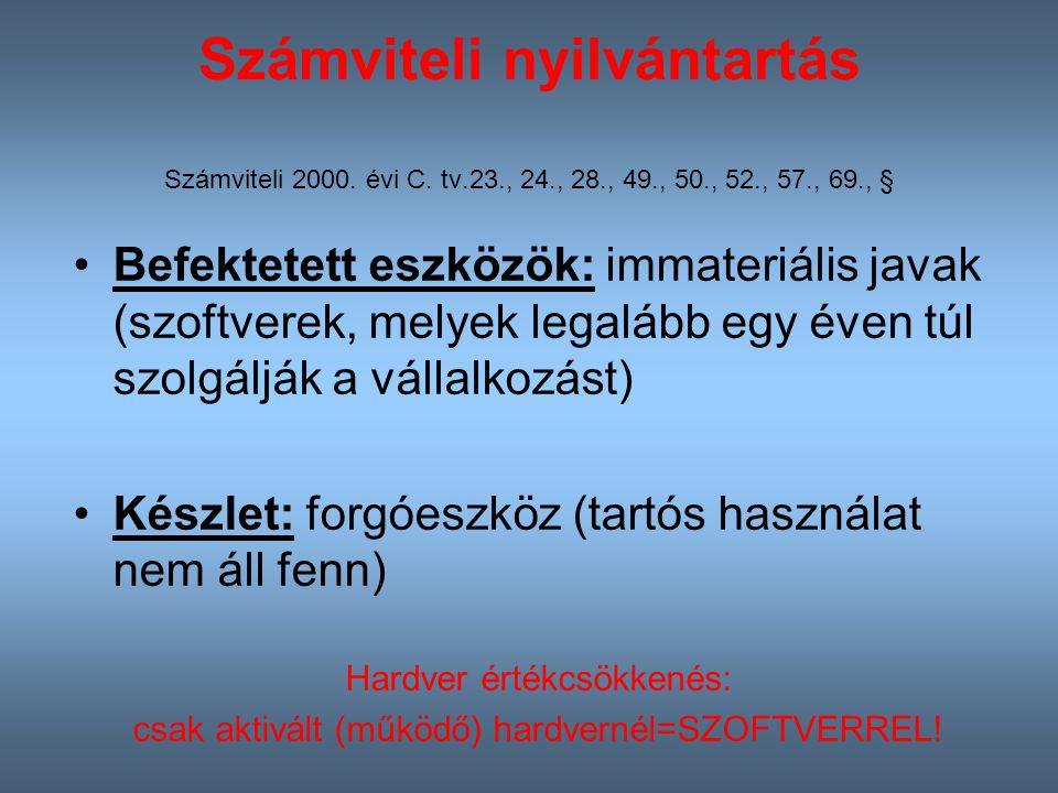 Számviteli nyilvántartás Számviteli 2000. évi C. tv. 23. , 24. , 28