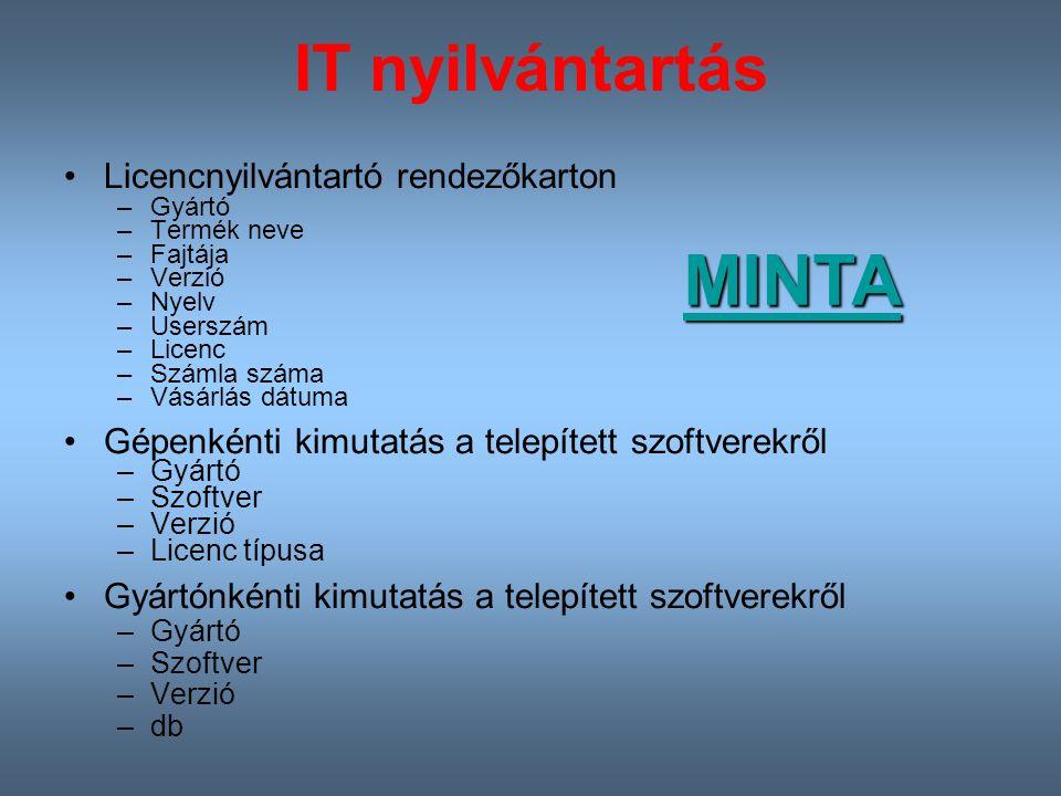 MINTA IT nyilvántartás Licencnyilvántartó rendezőkarton