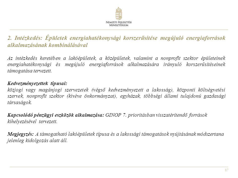 2. Intézkedés: Épületek energiahatékonysági korszerűsítése megújuló energiaforrások alkalmazásának kombinálásával