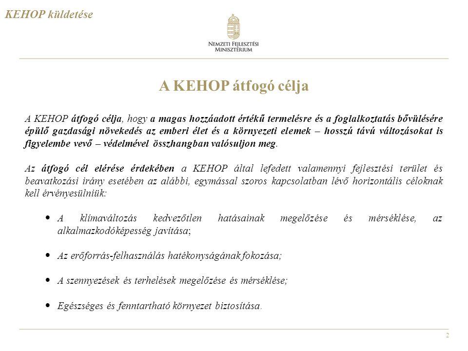 A KEHOP átfogó célja KEHOP küldetése