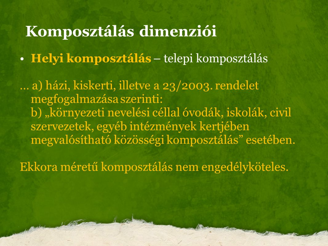 Komposztálás dimenziói