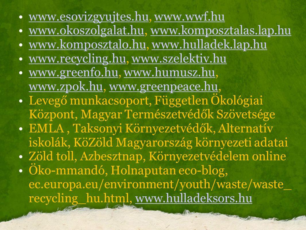 www.esovizgyujtes.hu, www.wwf.hu