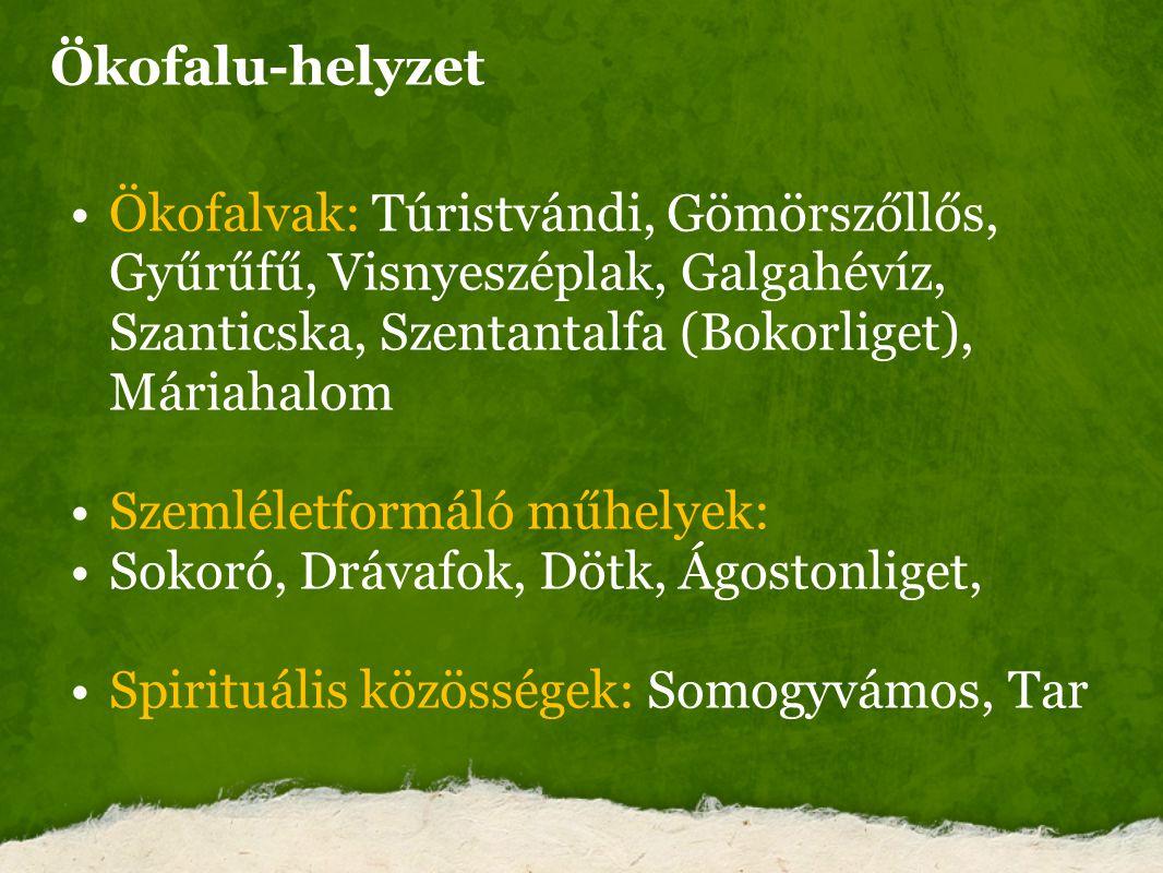 Ökofalu-helyzet Ökofalvak: Túristvándi, Gömörszőllős, Gyűrűfű, Visnyeszéplak, Galgahévíz, Szanticska, Szentantalfa (Bokorliget), Máriahalom.