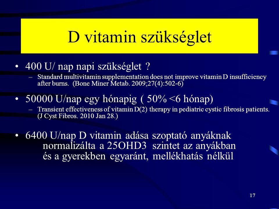 D vitamin szükséglet 400 U/ nap napi szükséglet