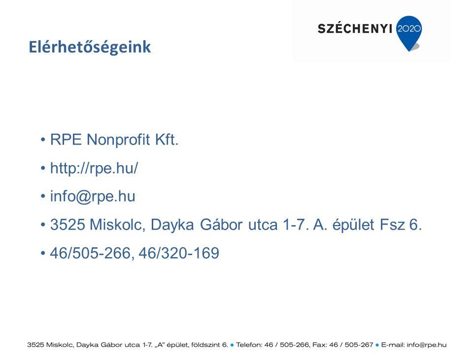 Elérhetőségeink RPE Nonprofit Kft. http://rpe.hu/ info@rpe.hu. 3525 Miskolc, Dayka Gábor utca 1-7. A. épület Fsz 6.