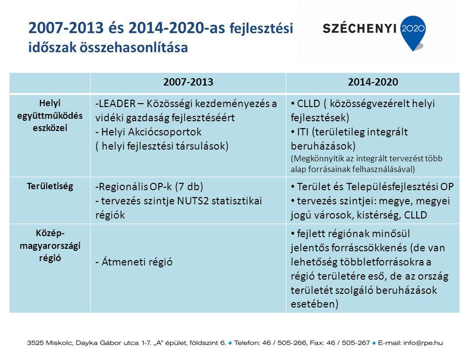 2007-2013 és 2014-2020-as fejlesztési időszak összehasonlítása