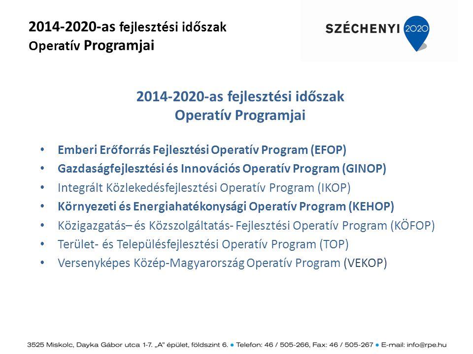 2014-2020-as fejlesztési időszak Operatív Programjai