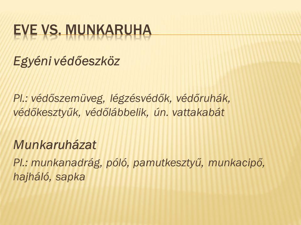 EVE vs. Munkaruha Egyéni védőeszköz Munkaruházat