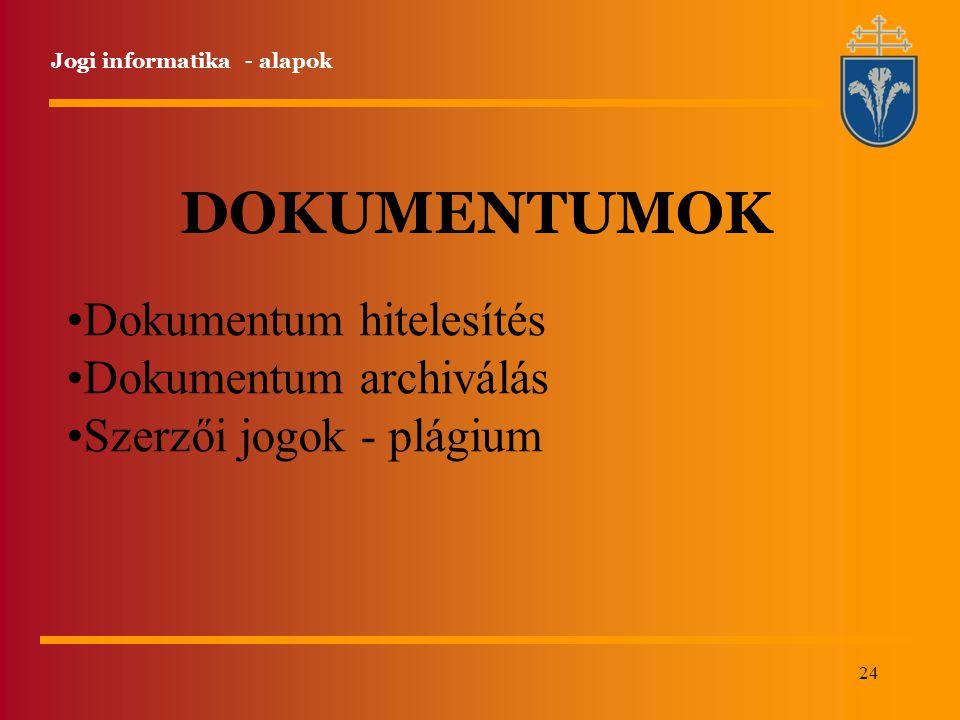 DOKUMENTUMOK Dokumentum hitelesítés Dokumentum archiválás