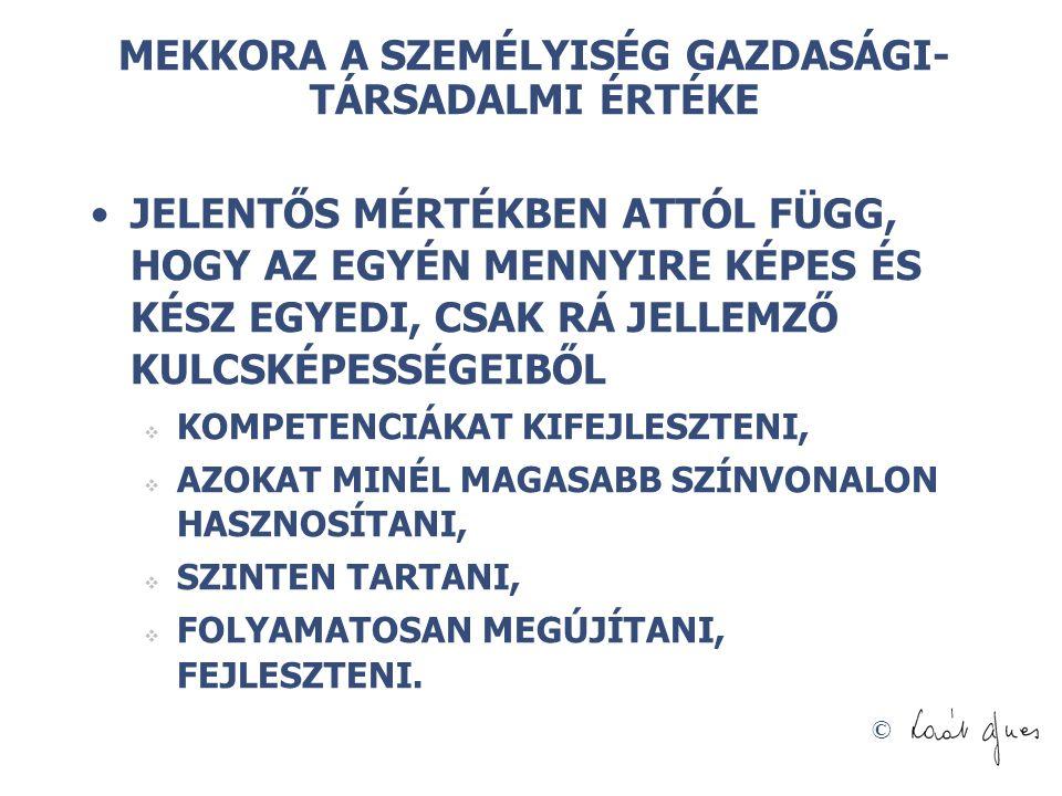 MEKKORA A SZEMÉLYISÉG GAZDASÁGI-TÁRSADALMI ÉRTÉKE