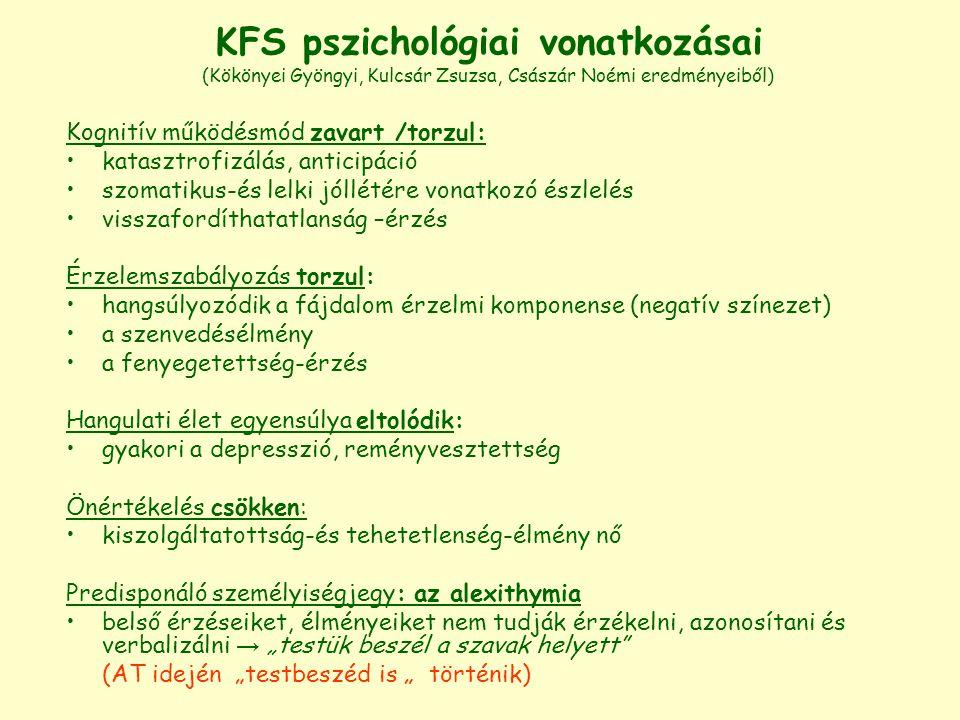 KFS pszichológiai vonatkozásai (Kökönyei Gyöngyi, Kulcsár Zsuzsa, Császár Noémi eredményeiből)