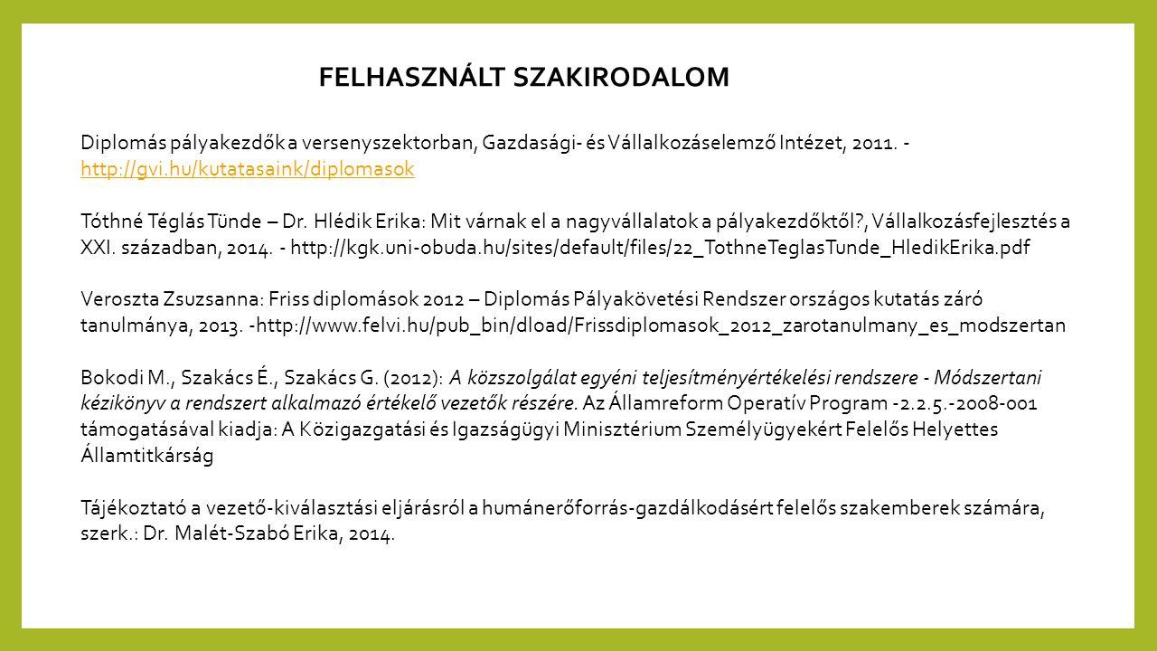 FELHASZNÁLT SZAKIRODALOM