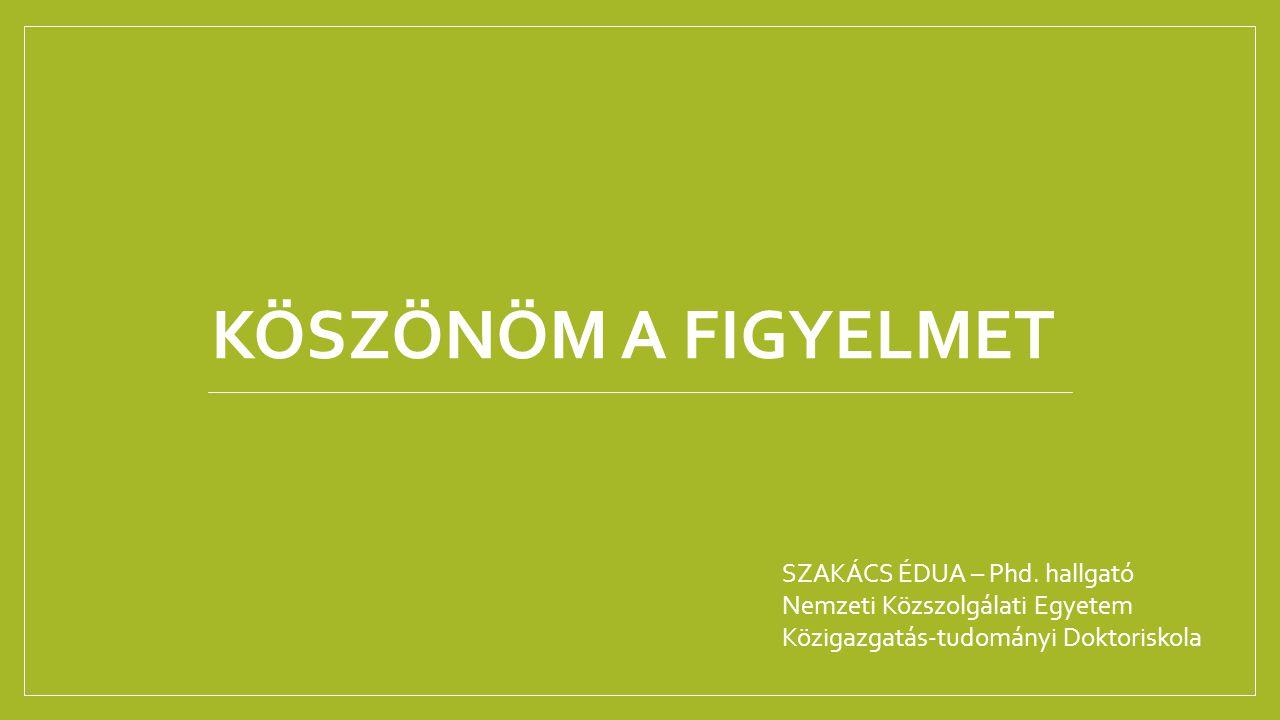 KÖSZÖNÖM A FIGYELMET SZAKÁCS ÉDUA – Phd. hallgató
