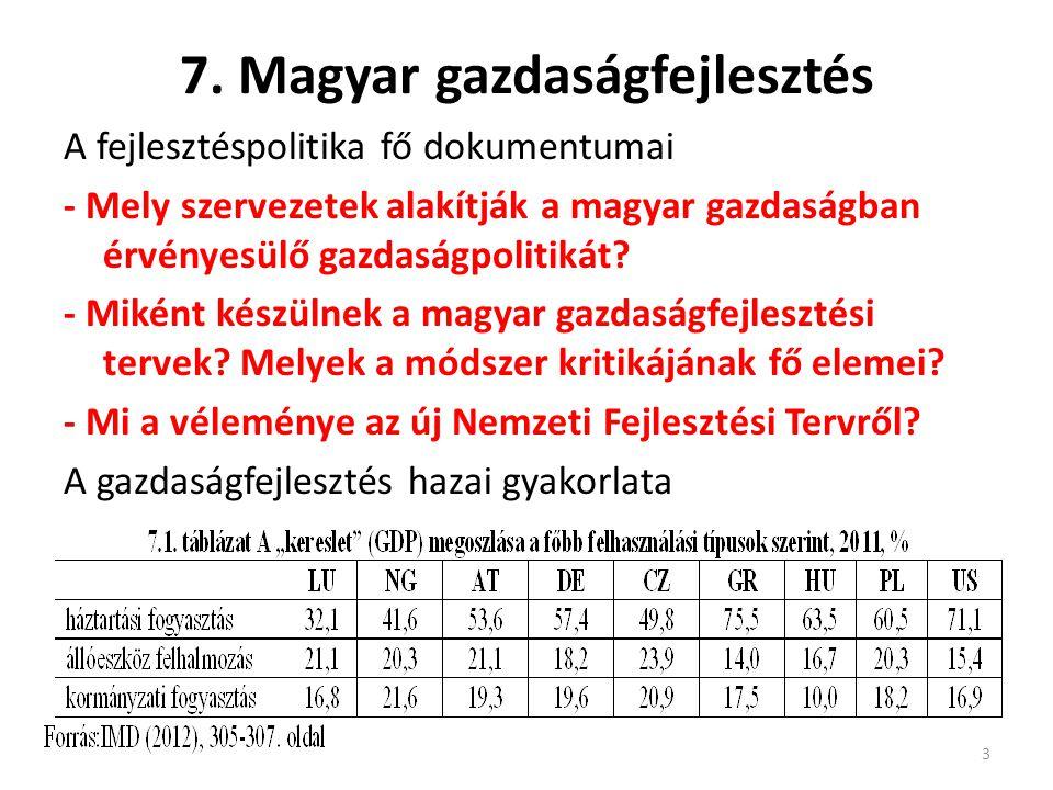 7. Magyar gazdaságfejlesztés