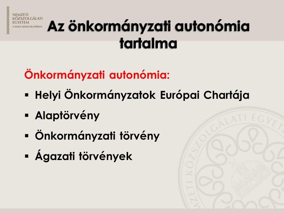 Az önkormányzati autonómia tartalma