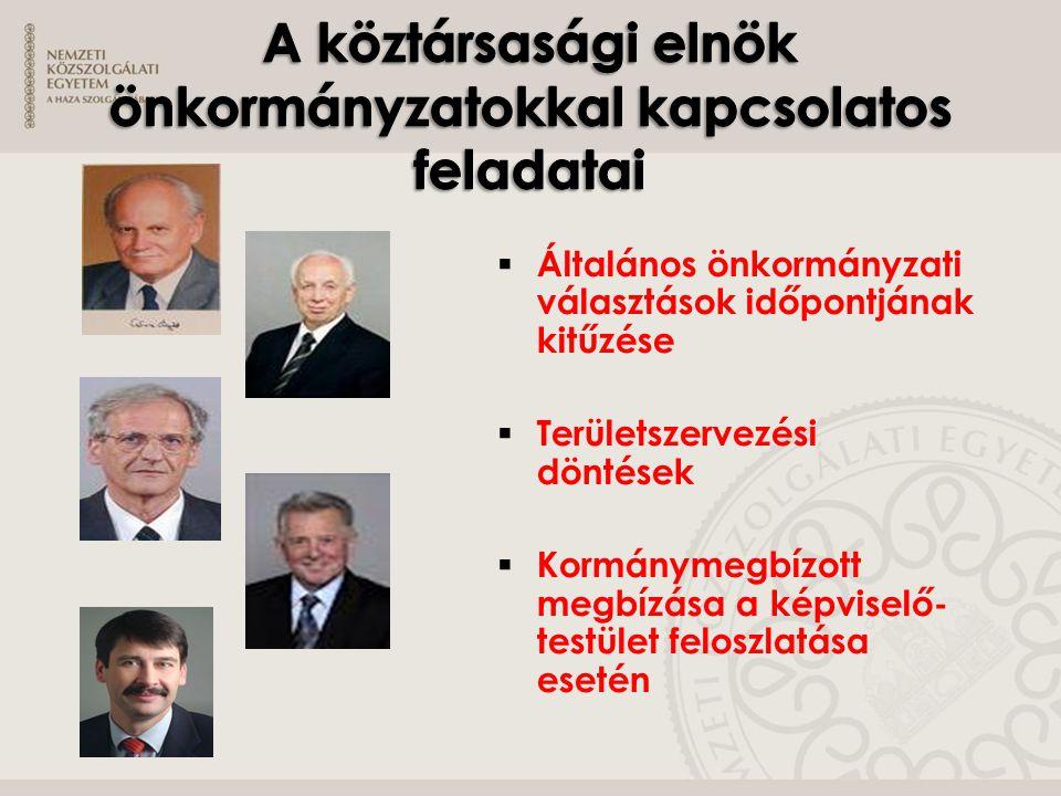 A köztársasági elnök önkormányzatokkal kapcsolatos feladatai