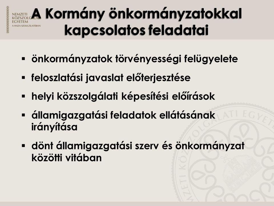A Kormány önkormányzatokkal kapcsolatos feladatai