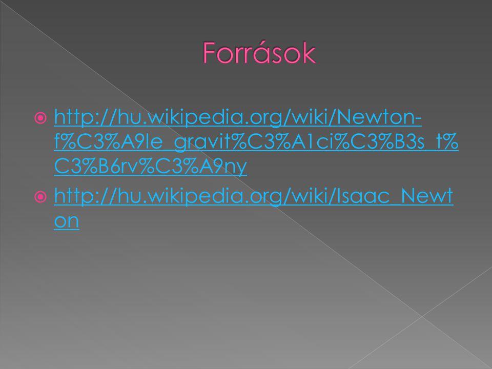 Források http://hu.wikipedia.org/wiki/Newton-f%C3%A9le_gravit%C3%A1ci%C3%B3s_t%C3%B6rv%C3%A9ny.