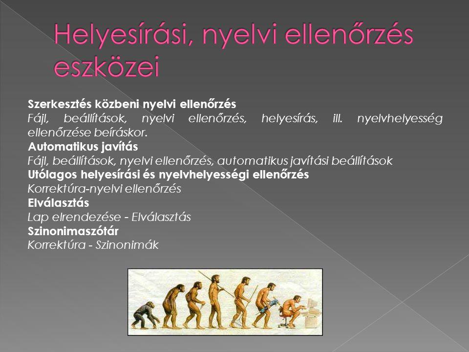 Helyesírási, nyelvi ellenőrzés eszközei