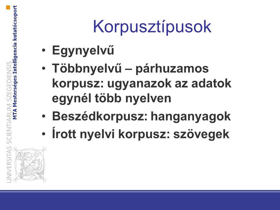 Korpusztípusok Egynyelvű