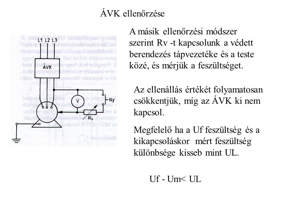 ÁVK ellenőrzése A másik ellenőrzési módszer szerint Rv -t kapcsolunk a védett berendezés tápvezetéke és a teste közé, és mérjük a feszültséget.