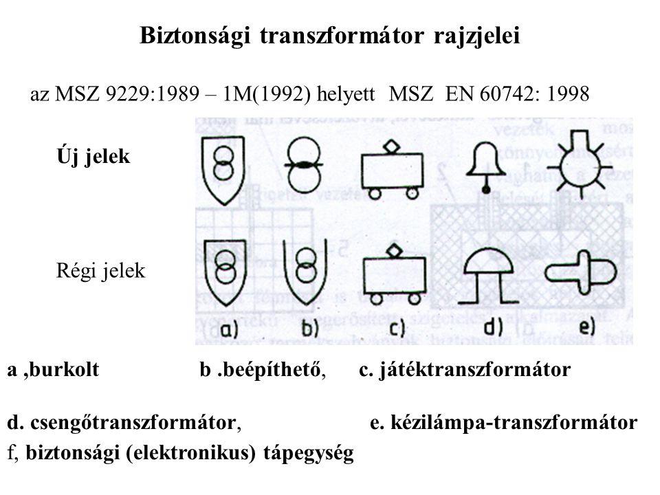 Biztonsági transzformátor rajzjelei